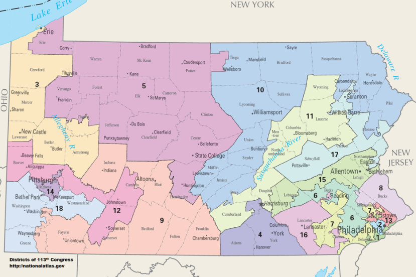 Pennsylvania's congressional districts, which were struck down by the Pennsylvania Supreme Court in January. Districts 1, 2, 13, 14, and 17 are represented by Democrats; the rest are represented by Republicans. The 18th district is currently vacant, but was previously held by a Republican.